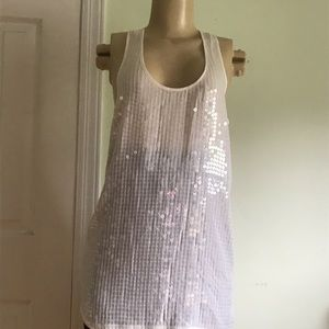 Ann Taylor chick Elegant sequins  tunic blouse